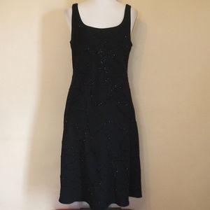 Jones New York Black Beaded Shift Midi Dress